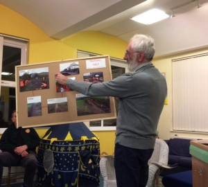 Roger from the Helston Railway Society with some of the many photographs of the work done by volunteeers